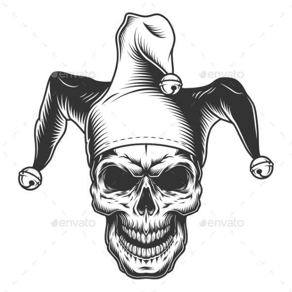Skull In Jester Hat Jester Hat Joker Drawings Jester Tattoo