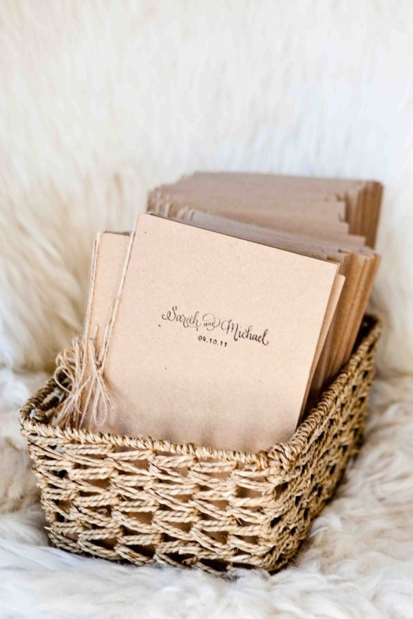 Kraft Paper and twine wedding programs