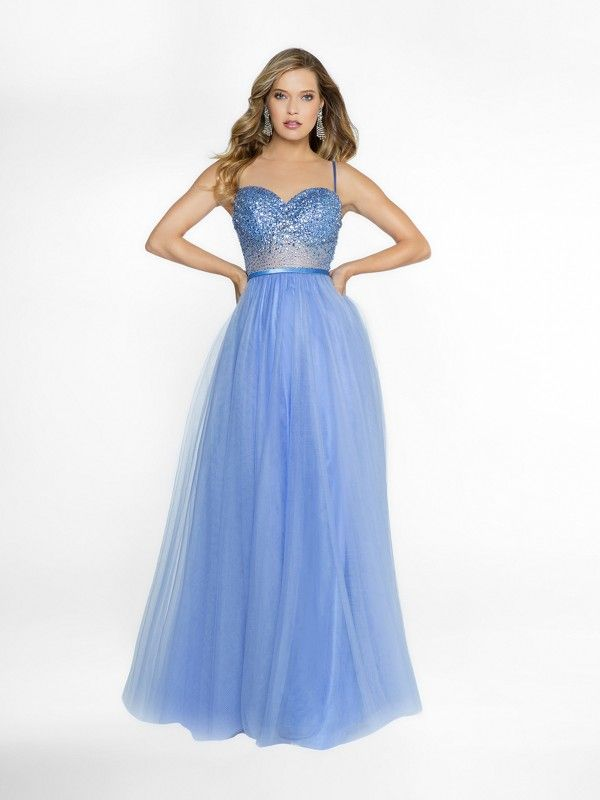 Blue Skies Ombre Satin Jersey Deep V Halter Gown