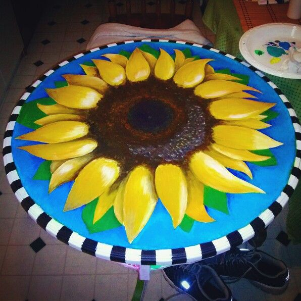 Painted Sunflower Table By Melissa Benoit My Crafts And