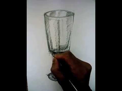 Desenho e Pintura - Desenhando uma taça. #Drawing #taça #glass #desenho #staedtler #casaartesvisuais