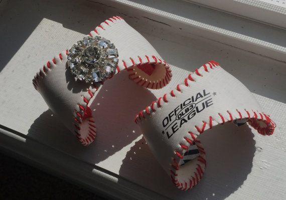 Baseball jewelry baseball bracelet cuff by AdornmentsbyAmyR