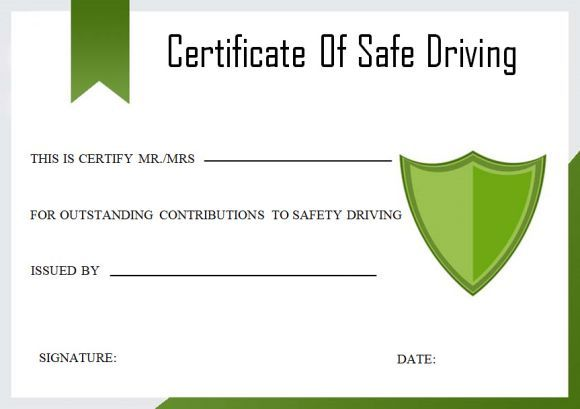 Safe Driving Certificate Safe Driving Certificate Template