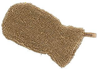 Massage-, Peelinghandschuh aus Jute und Baumwolle - anstelle eines Plastik-Peeling-Handschuhs.  Made of jute and cotton - plastic free peeling