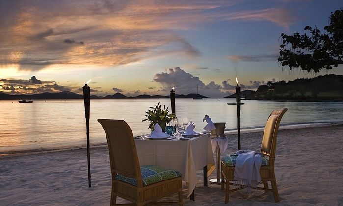 A romantic beach sunset dinner for 2 at Caneel Bay Resort. For more info: http://www.caneelbay.com/default.html