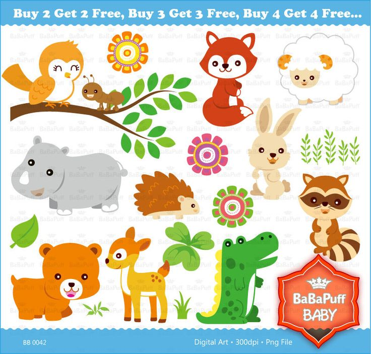Buy 2 Get 2 Free ---- Baby Animals Set 2 ---- Personal and Small Commercial Use ---- BB 0042. $5.00, via Etsy.