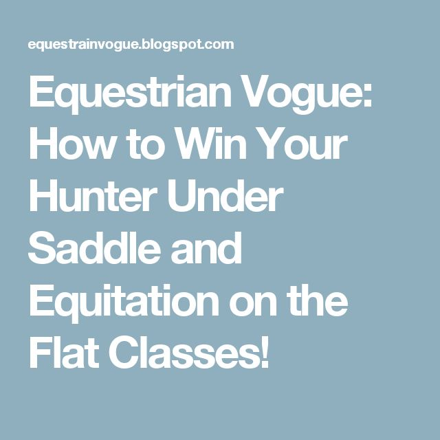 Equestrian Vogue: How to Win Your Hunter Under Saddle and Equitation on the Flat Classes!