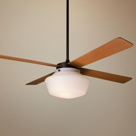 42 Period Arts Schoolhouse Ceiling Fan 444 Lamps Plus Wall Control And Hand Held Remote Maple Finish Blades Bronze
