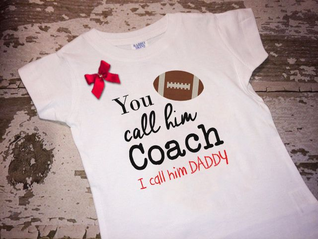 """Please specify the color the the bow and """"I Call Him Daddy"""" at checkout. Be sure to check out the rest of our shop for more great sports designs!! http://www.littlemacboutique.com/collections/sports C"""