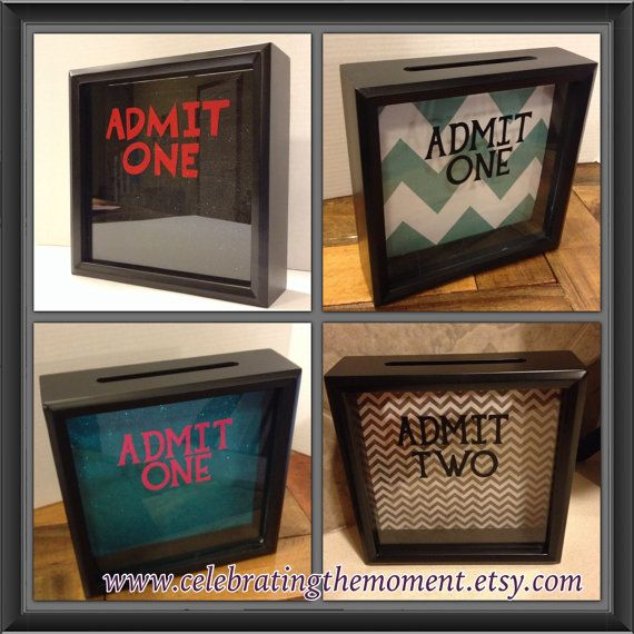 ADMIT ONE Ticket Stub 8x8 Shadow Box made by CelebratingTheMoment