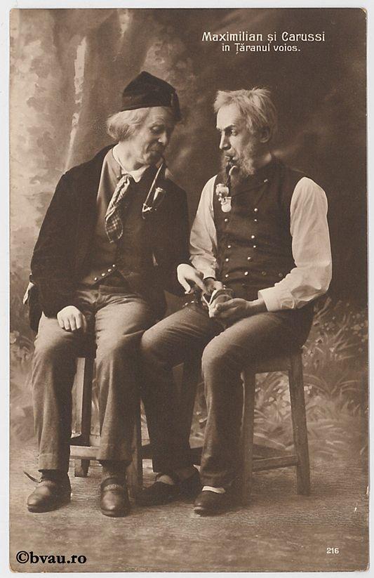 """Maximilian și Carussi în """"Țăranul voios"""", București. Imagine din colecțiile Bibliotecii """"V.A. Urechia"""" Galați."""