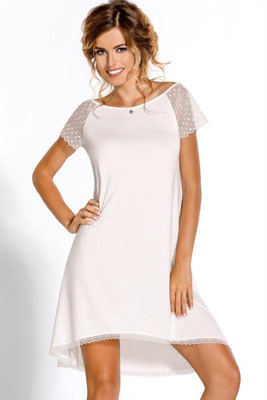 Koszula nocla w kolorze mlecznym https://ekskluzywna.pl/bielizna-nocna-damska #kobieta #bielizna