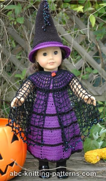 FREE crochet pattern for an American Girl Doll Witch's Cloak by ABC Knitting Patterns.