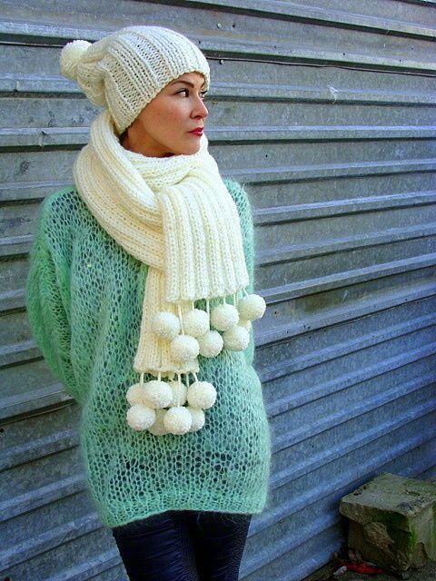 Nudakillers - big scarf, oversize, pom poms, handmade, knitted