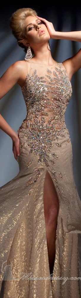 Tony Bowls Sexy Gold Jeweled Gown 2013