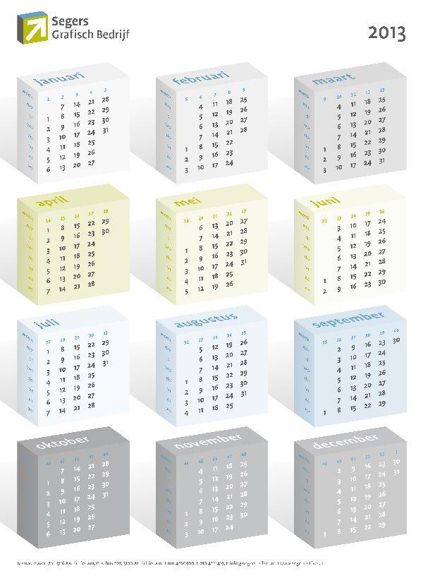 Wandkalender 2013 voor Segers Offset.