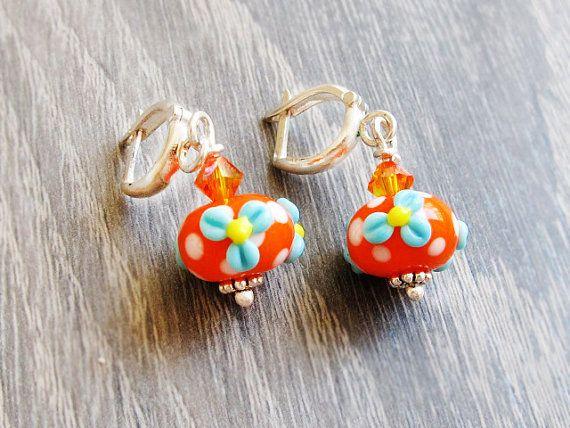 Floral Lampwork Silver Earrings Orange by GlassHouseLampwork