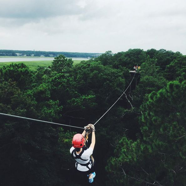 Ziplining in Hilton Head Island, South Carolina.
