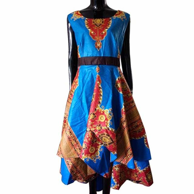 Africain vêtements pour femmes o-cou broderie africaine bazin dress Dashiki femmes dress coton africain imprimer dress grande taille WY447
