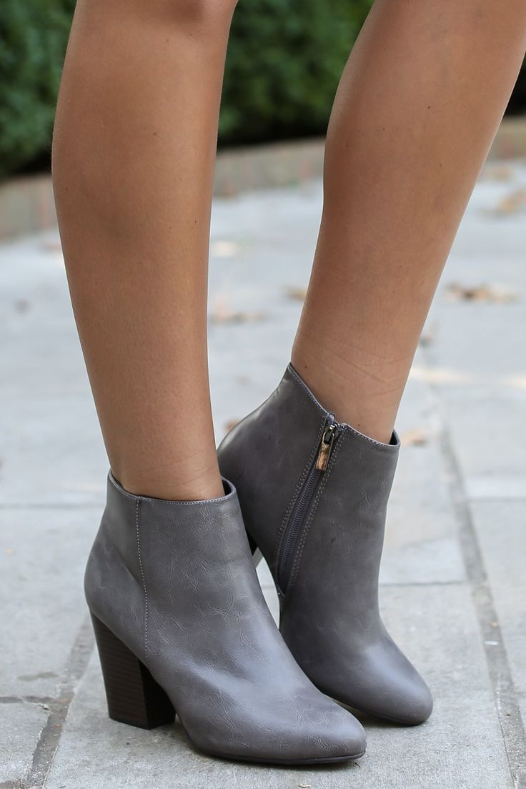 Crowd Pleaser Grey Ankle Boots