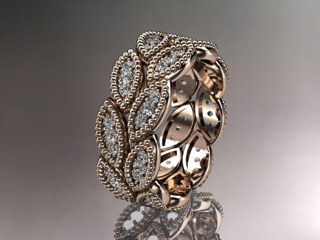 14kt Rose Gold Leaf Wedding Ringengagement Ringwedding Bandnature Inspired Jewelry