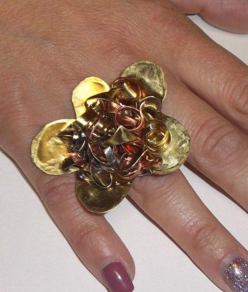 δαχτυλιδι μπρουτζος μαργαριτα υγρο γυαλι μεταλλα αρζαντο χαλκο μπρουτζο 5Χ4,5
