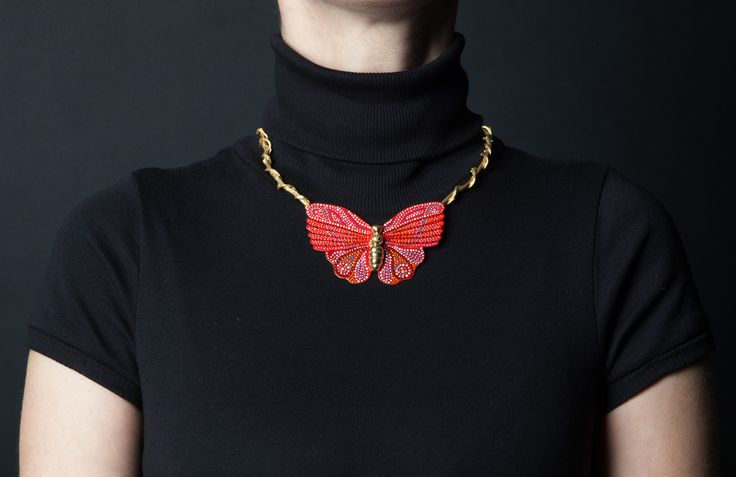A beautiful handcrafted gold-plated butterfly sitting on branches necklace inspired by nature, that could be worn all day long, from a morning meeting to a romantic dinner. Explore our jewellery inspired by the nature wonders on http://www.facebook.com/LillysPapillon http://www.lillyspapillon.com