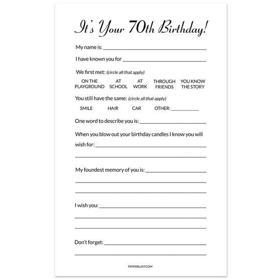 70th Birthday Party Game Wishes Cards Set of 30