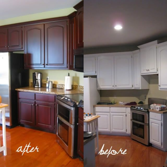Wowza diy fun pinterest kitchens cabinets and cherries for Before and after painting kitchen cabinets white