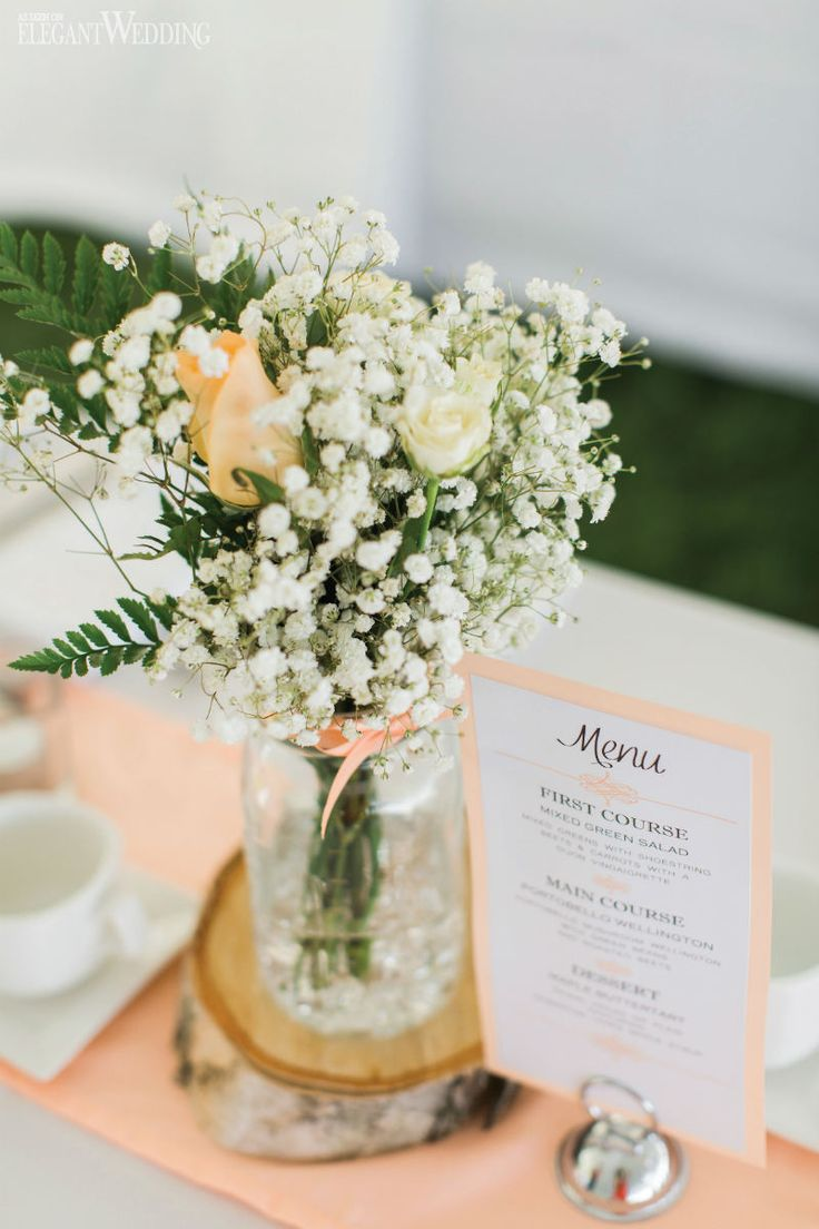Soft peach wedding flowers and decor, baby's breath centerpieces, birch-bark centrepieces, wedding table setting, wedding flowers, peach wedding menu, wedding stationery, wedding ideas, wedding inspiration SOFT PEACH AND WHITE WATERFRONT WEDDING www.elegantwedding.ca