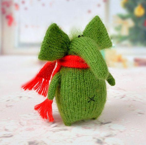 Drôle éléphant vert Amigurumi jouet Miniature par MiracleStoreRU