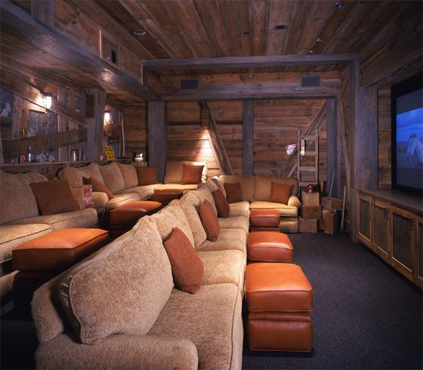 Media rustic basement love this looks like an old for Basement home theater plans