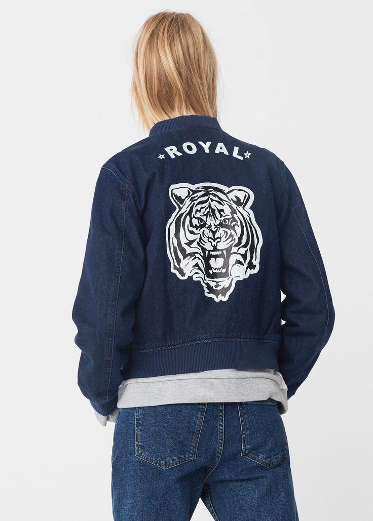 MANGO Bedrukt tiger print denim bomber jacket dark blue