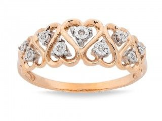 Bevilles Jewellers are proud to boast this 9ct Rose Gold Diamond Heart Pattern Ring 9533001. #rosegold #rose #hearts #ring #jewellery #bevilles