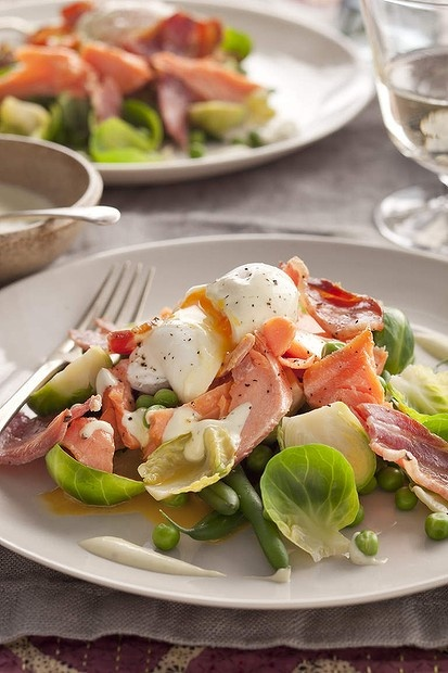 Good eggs: Jill Dupleix's salad of hot smoked salmon, peas and a poached egg.