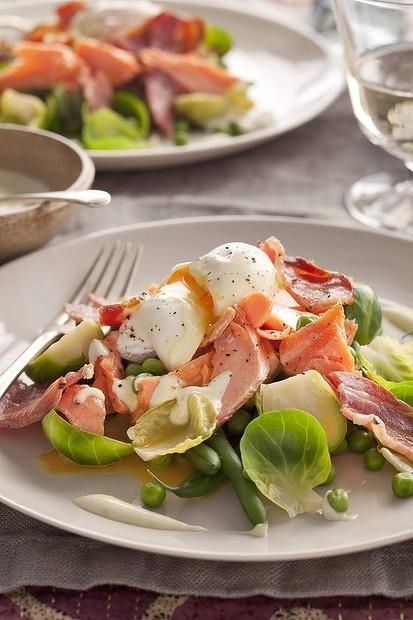 Good eggs: Jill Dupleix's salad of hot smoked salmon, peas and a poached egg.