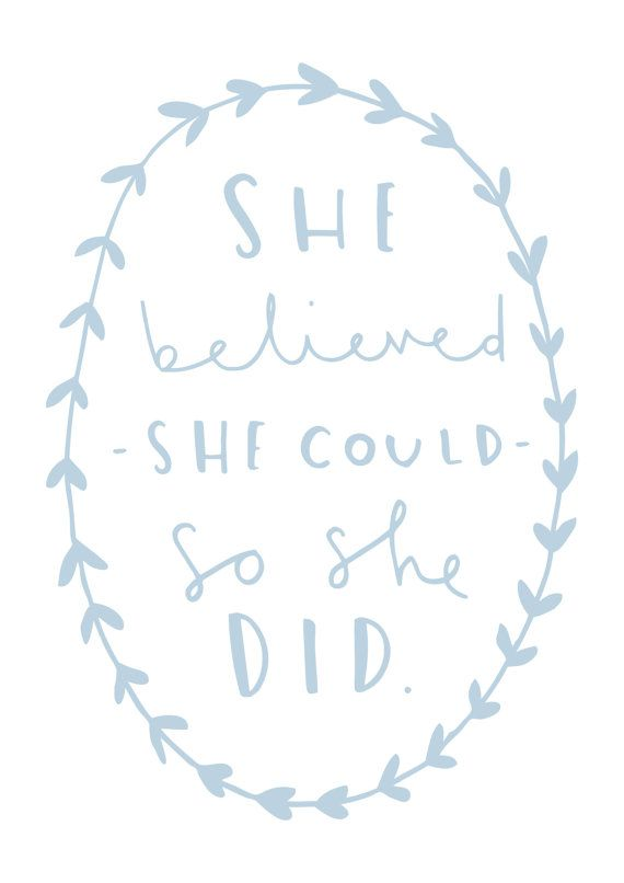 A4 Motivational Typography Print She believed she by OldEnglishCo