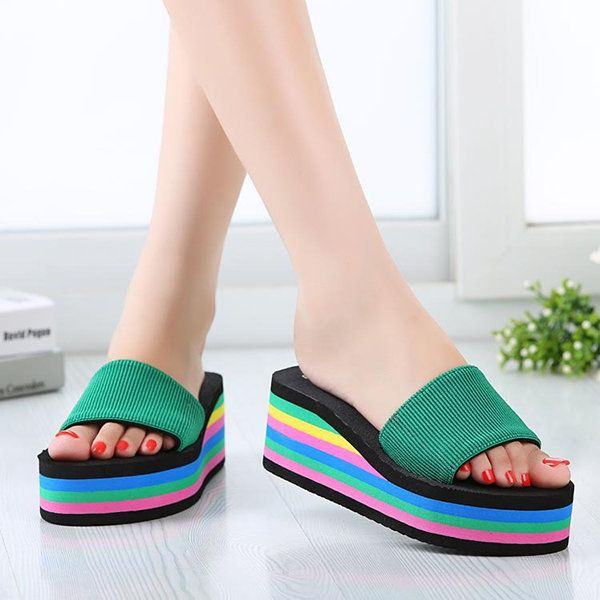 Women Casual Flip Flops Foam Beach Sandals Rainbow High Platform Wedge Slipper S - US$9.95