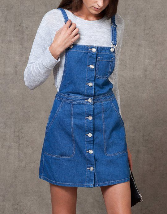 At Stradivarius you'll find 1 Denim pinafore dress for woman for just 29.99 £ . Visit now to discover this and more SKIRTS.
