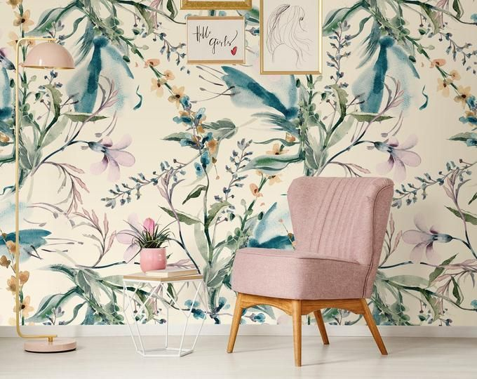 Tropical Gold Leaves Removable Wallpaper Peel And Stick Etsy Feature Wall Wallpaper Chinoiserie Wallpaper Removable Wallpaper