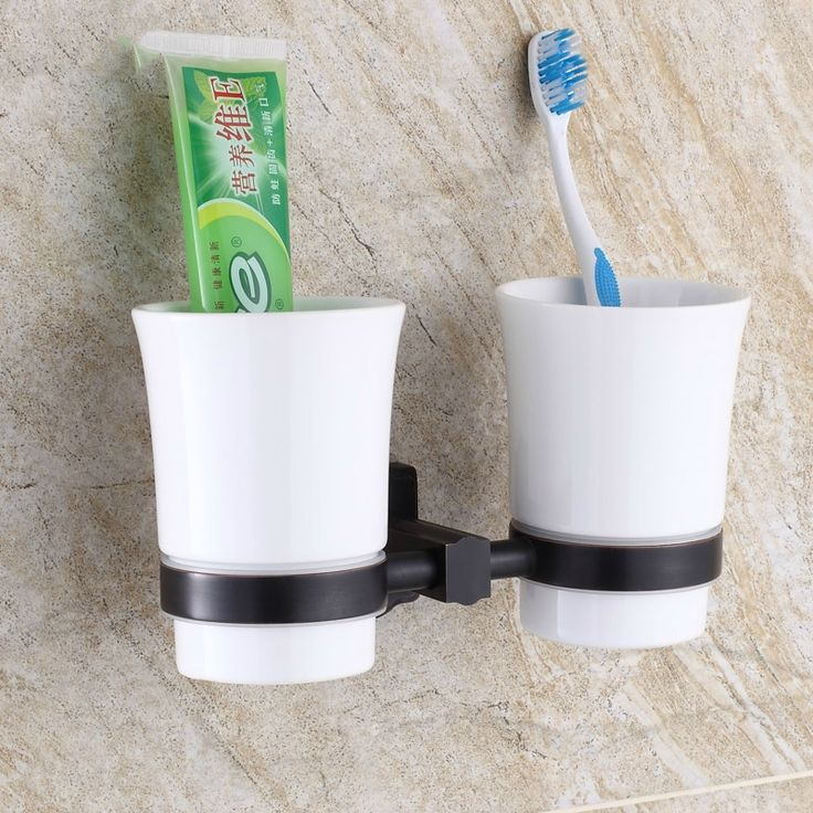 37.40$  Buy here  - Antique Brushed Square Toothbrush Holder Double Cup European Mediterranean Cup Holder Wall Mount Bathroom Hardware Set W358