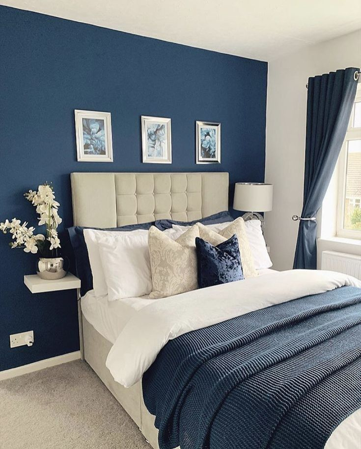 Blue Master Bedroom, Blue Bedroom Walls, Blue Bedroom Decor, Bedroom Wall Colors, Master Bedroom Makeover, Bedroom Color Schemes, Room Ideas Bedroom, Dream Bedroom, Home Bedroom
