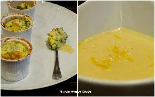 Soufflè spinaci e caprino con crema di patate al limone