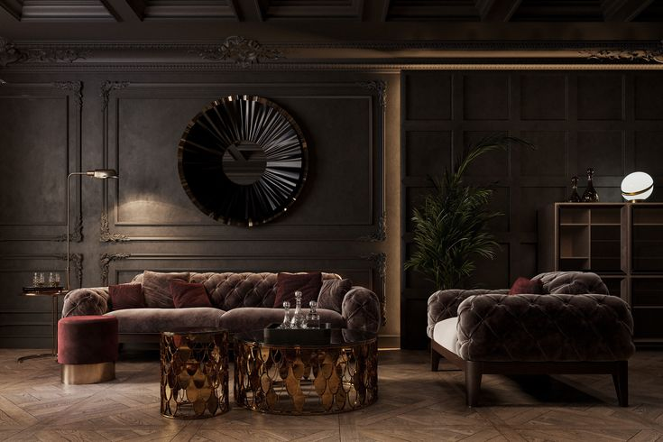 查看這個 @Behance 專案:「Classic Dark Apartment」https://www.behance.net/gallery/68214245/Classic-Dark-Apartment | Living room designs, Home interior design, Home decor