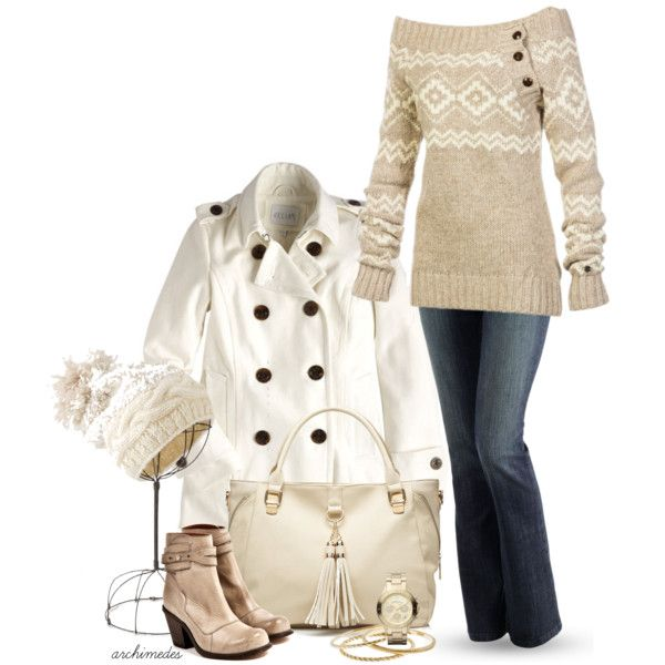 Winter Whites outfit... love this sweater