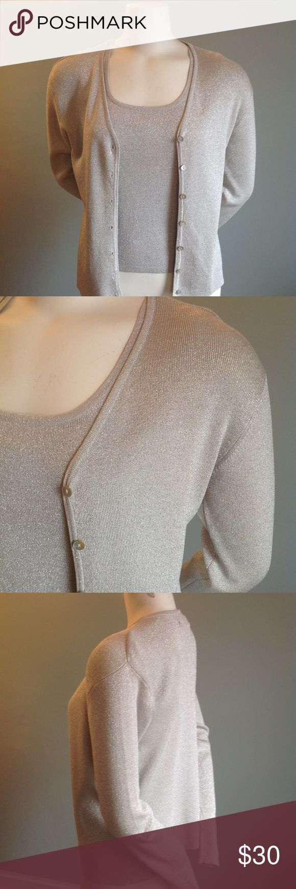 """Joseph A. Silver Cardigan Set In great condition with minimum pilling or snags, this sweater set is 70% silk/ 15% spandex/ 15% metallic thread. Hand wash cold. Length 20."""" Sleeve length 23."""" Bust 35"""" with ample stretch. Beautiful and hangs nicely. Joseph A. Sweaters Cardigans"""