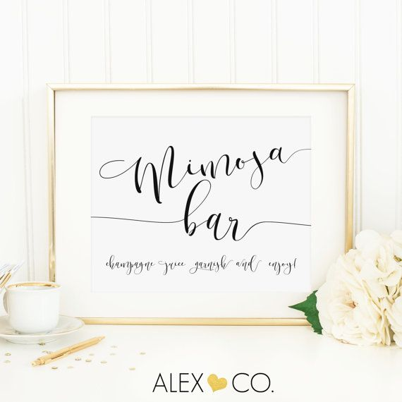Mimosa Bar Sign. Mimosa Bar Printable. by alexandcoprintables