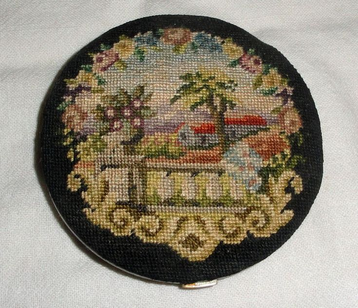 Vintage Volupte Powder Compact PETIT POINT Powder Compact House Trees Scene