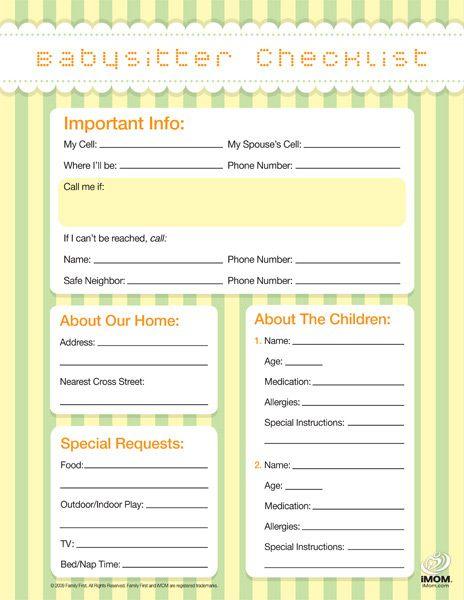 Free printable babysitter checklist.