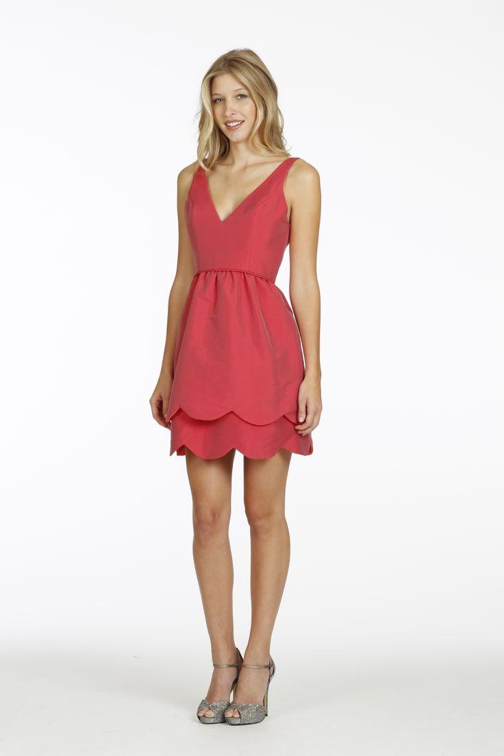 Cherry silky taffeta A-line bridesmaid dress, V-neckline, natural waist, tulip skirt with scallop hem detail. (if light pink/pastel)